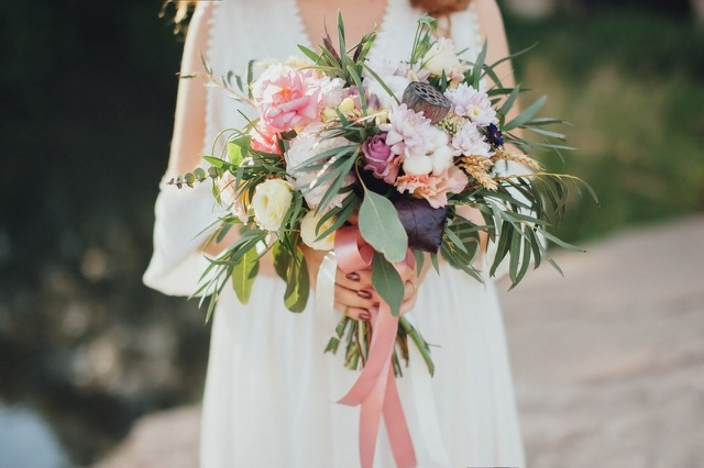 Bohemian wedding flower bouqet