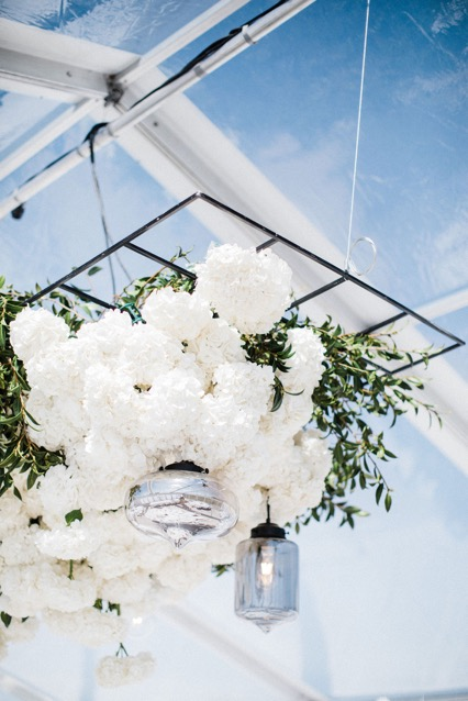 White hanging wedding flowers, Auckland florist