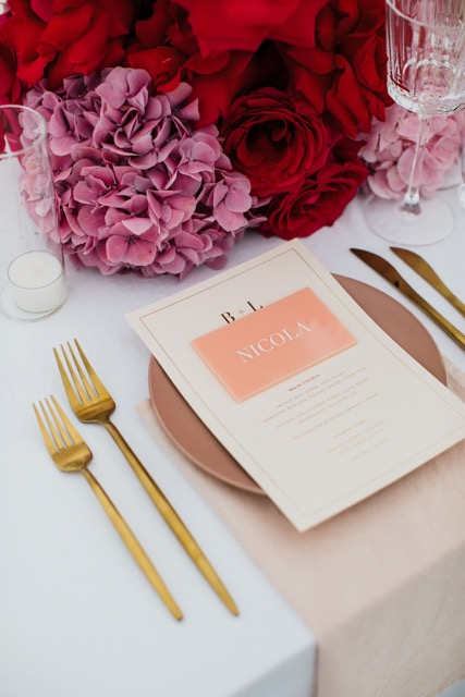 Bright flowers wedding table setting