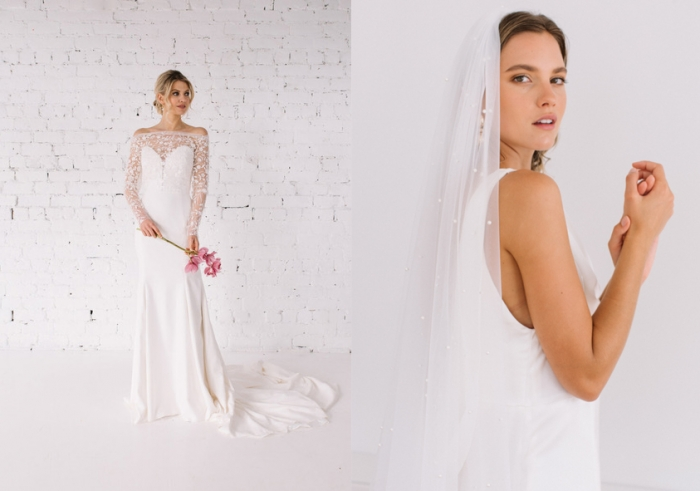 Wedding gown and bridal veil